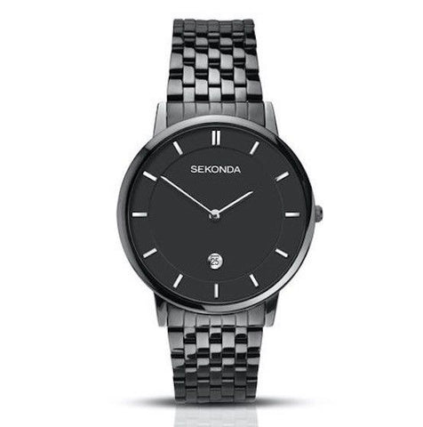 Sekonda 40mm Black Dial With Black Metal Bracelet Strap Watch SK1386 - Lyncris Jewellers