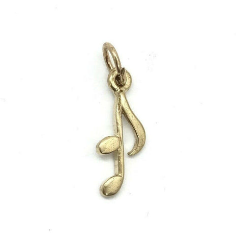 375 9ct Yellow Gold Music Note Crotchet Quaver Charm - Lyncris Jewellers