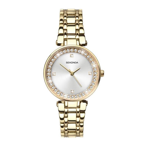Sekonda 28mm Ladies Gold Diamante Watch With Sunray Dial SK2540 - Lyncris Jewellers