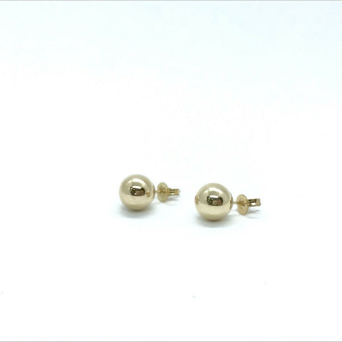 375 9ct Yellow Gold 8mm Ball Stud Earrings Polished Finish - Lyncris Jewellers