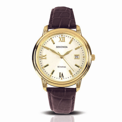 Sekonda 38mm Gents Gold Watch With Reddish Brown Leather Band SK3779 - Lyncris Jewellers