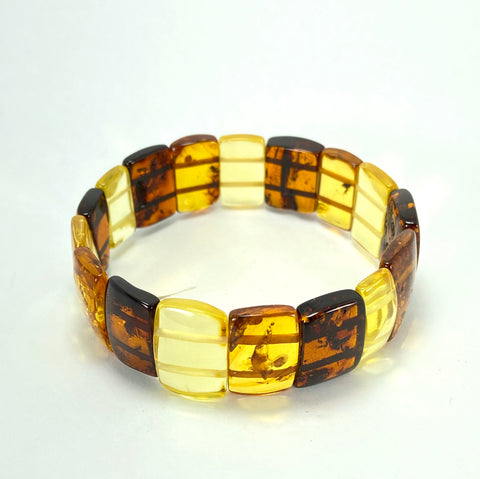 Multi-Coloured Rectangular Baltic Amber Bracelet LJ9709 - Lyncris Jewellers