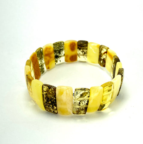 Multi-Coloured Rectangular Baltic Amber Bracelet LJ9711 - Lyncris Jewellers