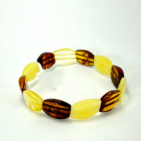 Multi-Coloured Baltic Amber Bracelet LJ9713 - Lyncris Jewellers