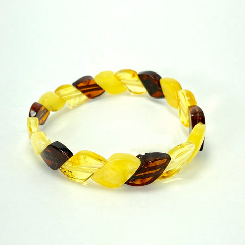 Multi-Coloured Baltic Amber Bracelet LJ9714 - Lyncris Jewellers