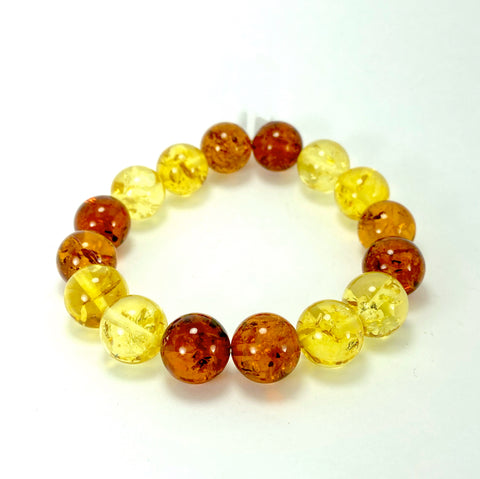 Multi-Coloured Baltic Amber Ball Bracelet LJ9718 - Lyncris Jewellers