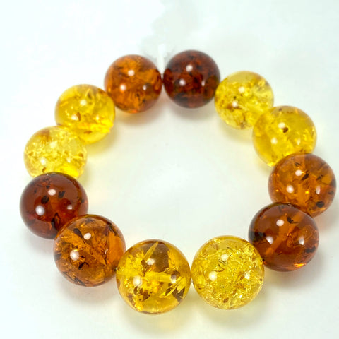 Multi-Coloured Baltic Amber Ball Bracelet LJ9719 - Lyncris Jewellers