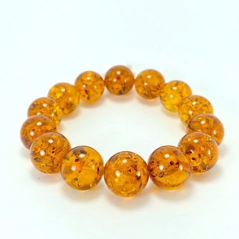 Baltic Amber Large Ball Bracelet LJ9720 - Lyncris Jewellers