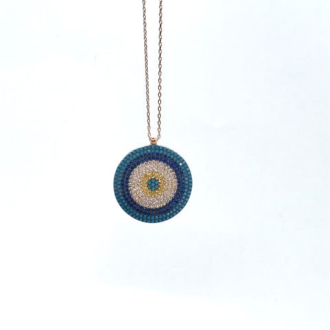 Rose Gold Plated Pave Set CZ Turquoise Nazar Evil Eye Necklace - Lyncris Jewellers