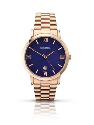 Sekonda Rose Gold Watch With Navy Blue Dial SK1090 - Lyncris Jewellers