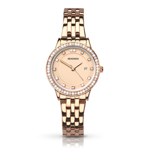 Sekonda Rose Gold Diamante Watch SK2391 - Lyncris Jewellers