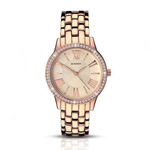 Sekonda Rose Gold Roman Diamante Watch SK2400 - Lyncris Jewellers