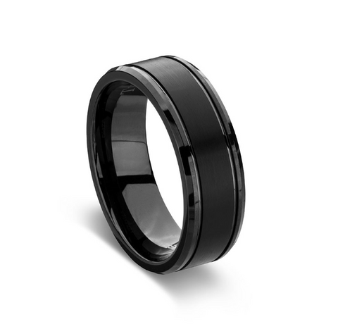 BLAZE Men's Black Tungsten Matte Polished Wide Ring - Lyncris Jewellers