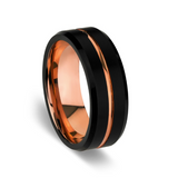 BLAZE Men's Black Tungsten & Rose Gold Ring - Lyncris Jewellers