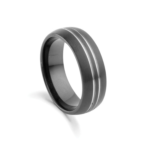 BLAZE Men's Black Tungsten Ring With Silver Lines - Lyncris Jewellers