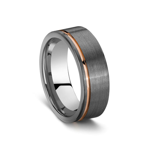 BLAZE Men's Tungsten Brushed Steel & Rose Gold Ring - Lyncris Jewellers