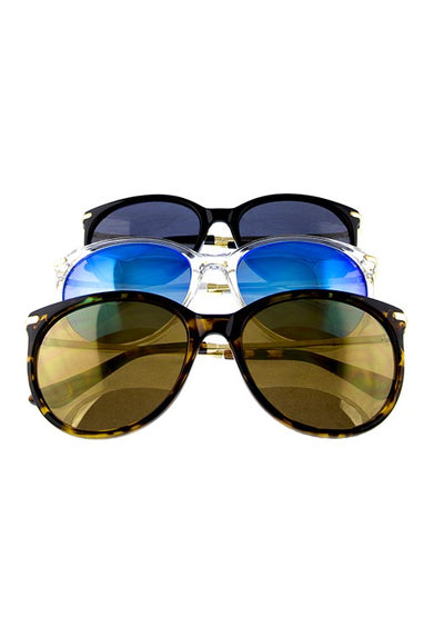Round Rhinestone Cat Eye Sunglasses