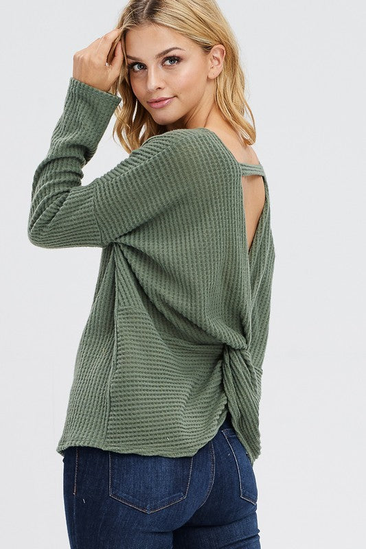 Cut Out Waffle Knit Top