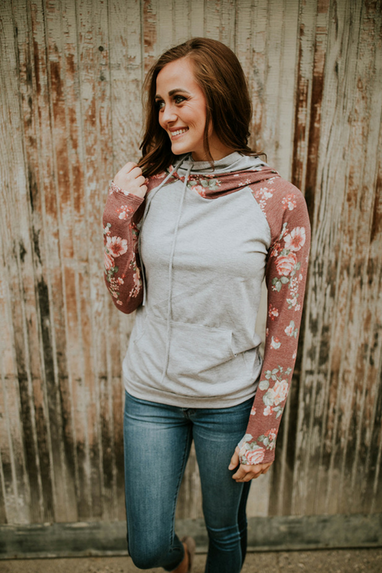 Two Toned Floral Hoodie (2 Colors)