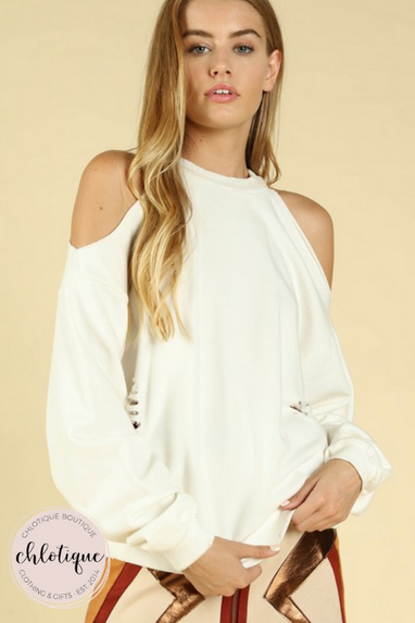 Chills Cold Shoulder Sweater