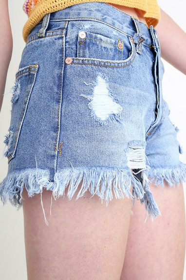 Mickey Distressed Cutoffs