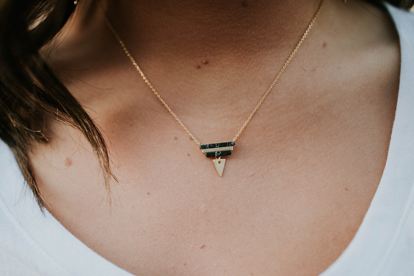 My Love Triangle Stone Necklace