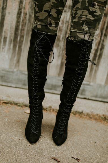 Tie Up Knee High Boots