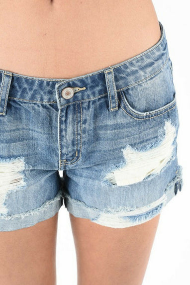 Shaila Distressed Denim Shorts by KanCan