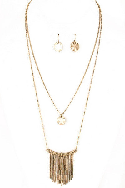 Hammered Coin & Fringe Necklace Set
