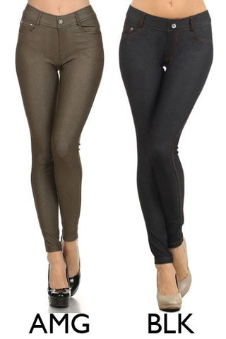 Solid Color Jeggings- 2 Colors