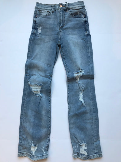 Distressed High Rise Straight Denim
