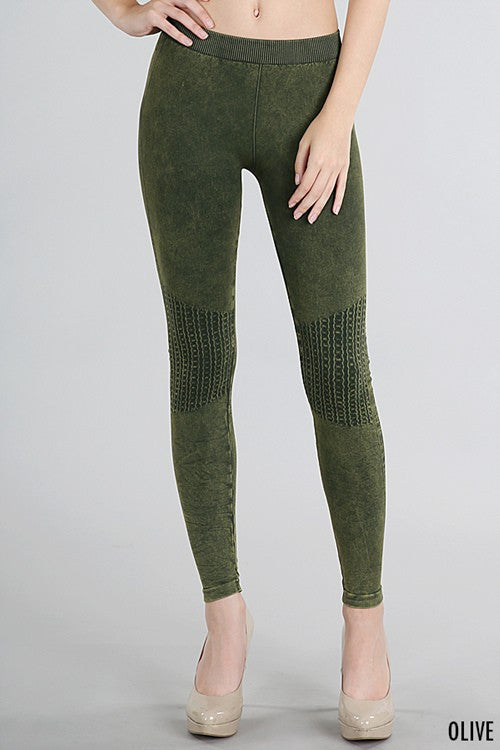 Mineral Wash Moto Legging (Several Colors)