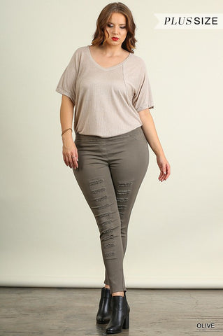 Hello Lovely Distressed Leggings- Plus