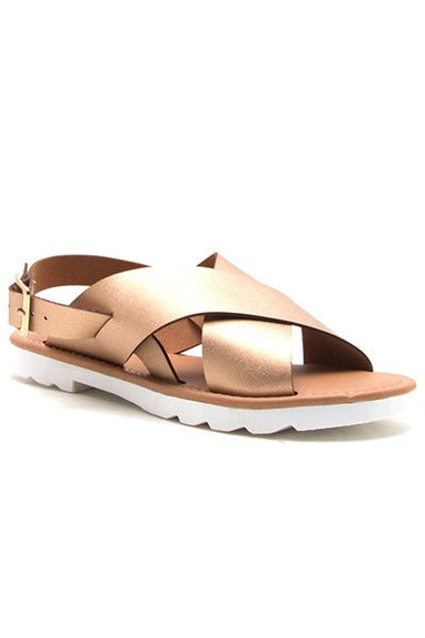 Clark Rose Gold Metallic Sandals