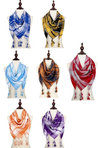 Collegiate Colors Plaid Scarf-4 Colors