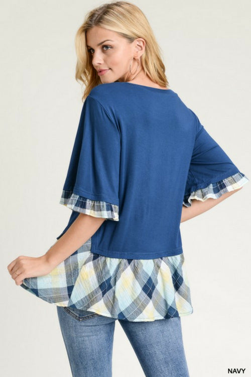 Color-Block Plaid Top (2 Colors)