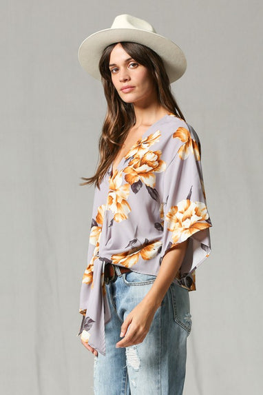 Faded Floral Tie Top