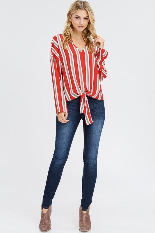 Red Woven Striped Top