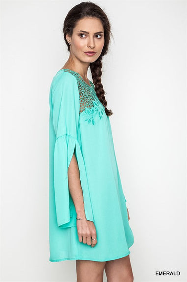 Emerald Bell Sleeve Shift Dress