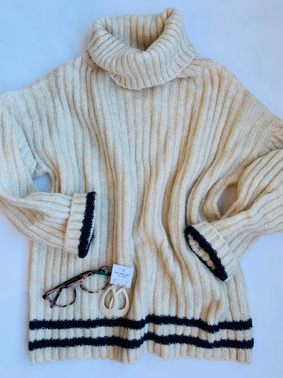 Cozy Colorband Turtleneck Sweater