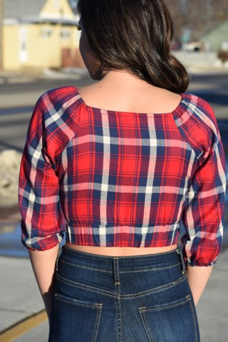 Cropped Cut Flannel Top