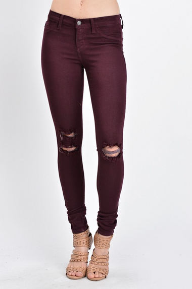 Burgundy Love Skinnies