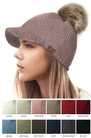Knitted Brim CC Beanie with Fur Pom