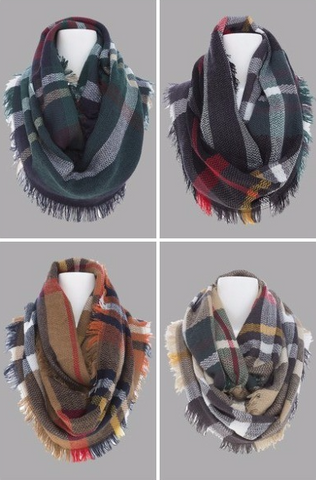 Plaid Fringed Infinity Scarf