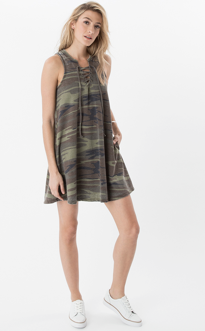 All Tied Up Dress by Z Supply (Camo)