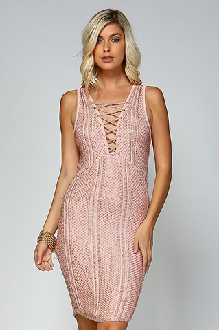 Metallic Knit Dress in Rose Gold