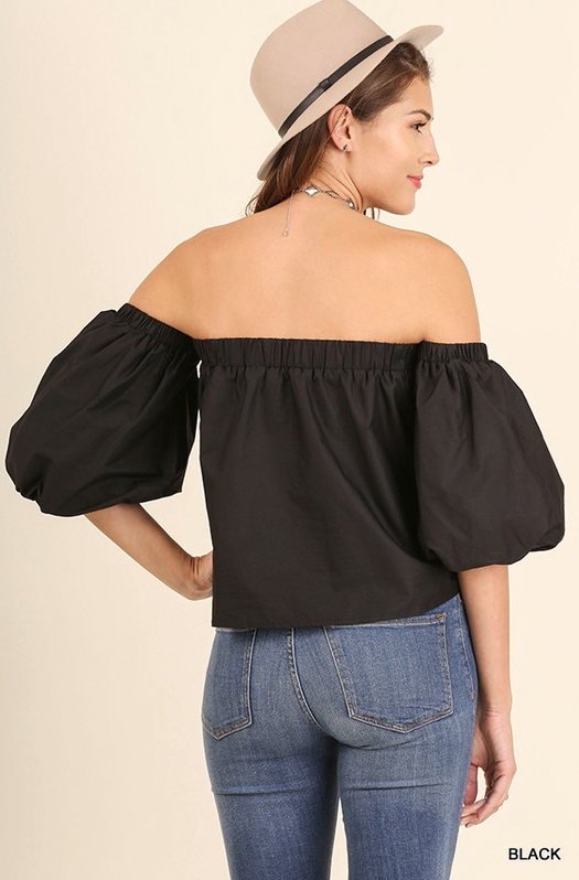 Bishop Off the Shoulder Top (Black)