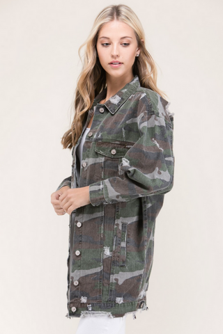 Oversized Camo Denim Jacket