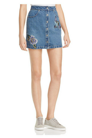 Hummingbird Denim Skirt