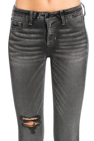 Cello Black Distressed/Ripped Skinny Jeans